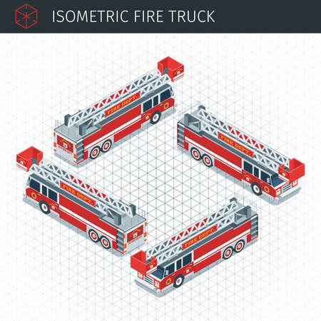 Isometric fire truck. 3d vector transport icon. Highly detailed vector illustration Illustration