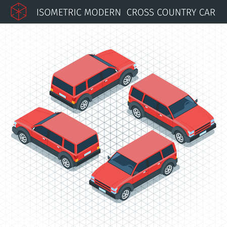 Isometric red croos country car. 3d vector transport icon. Highly detailed vector illustration
