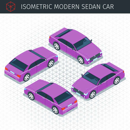 Isometric purple sedan car. 3d vector transport icon. Highly detailed vector illustration Illustration