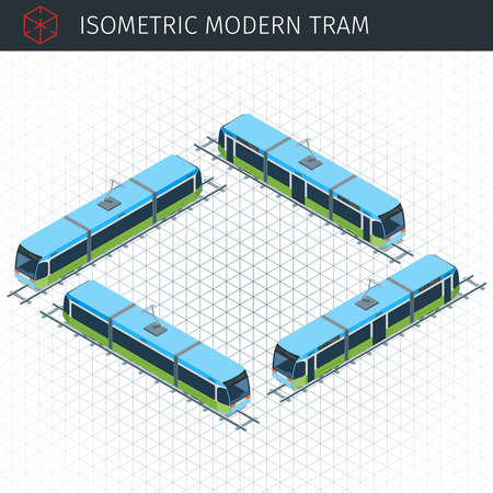 Isometric city tram. 3d vector transport icon. Highly detailed vector illustration Illustration