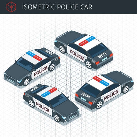 Isometric police car. 3d vector transport icon. Highly detailed vector illustration