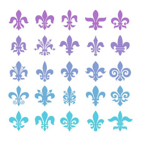 Fleur de lis symbols set on plain background.