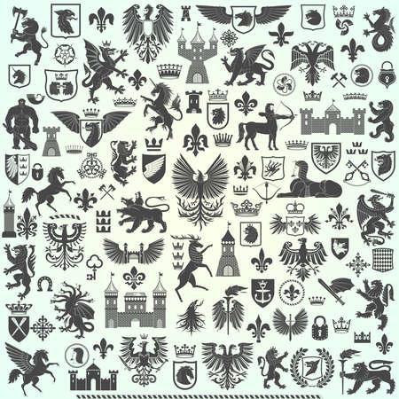 Große Wappenkundensammlung auf einfachem Hintergrund.