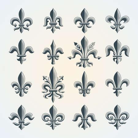 Fleur-de-lis vintage symbols set. Royal french heraldry design elements for coat of arms, emblem or medieval design.