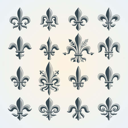 Fleur-de-lis vintage symbols set. Royal french heraldry design elements for coat of arms, emblem or medieval design.