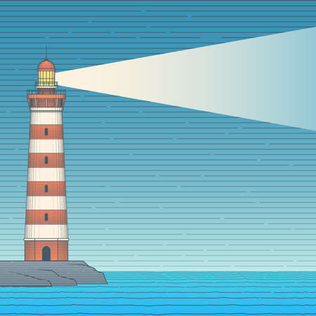Old lighthouse standing on a steep bank. Hand drawn vintage background Vector Illustration.