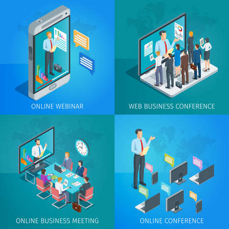 Set of isometric banners on theme online business conference or online webinar. People listen to the lecturer.