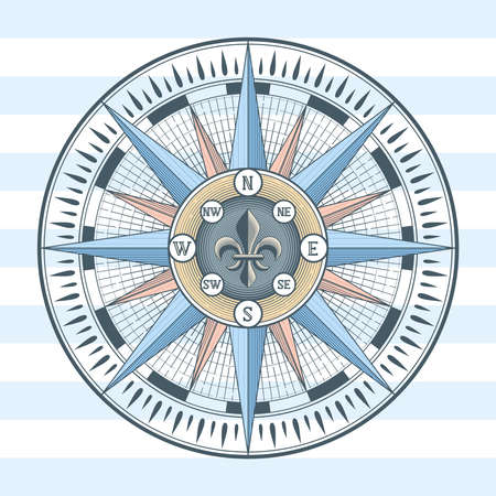 Wind rose compass icon. Illustration