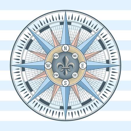 Wind rose compass icon. Illustration