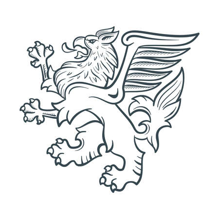 Image of the heraldic griffin. Rampage griffon. Highly detailed illustration.