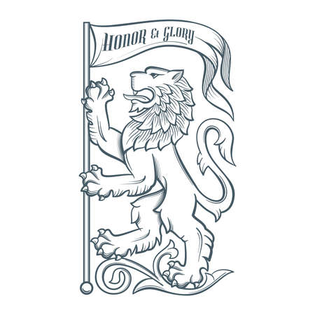 Image of the heraldic lion with flag. Highly detailed illustration. Illustration