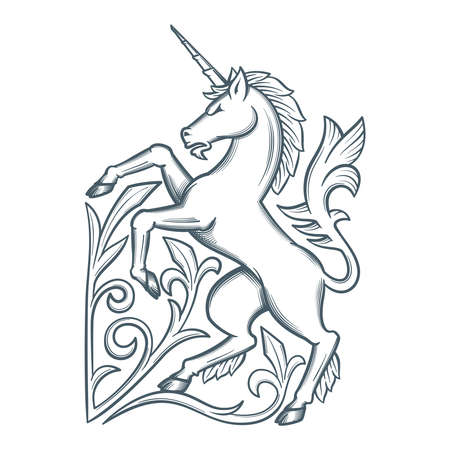 Image of the heraldic unicorn Stock fotó - 90022649
