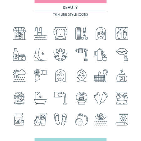 Thin line design beauty icons
