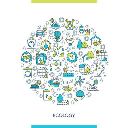 Flat line design ecology concept Illusztráció