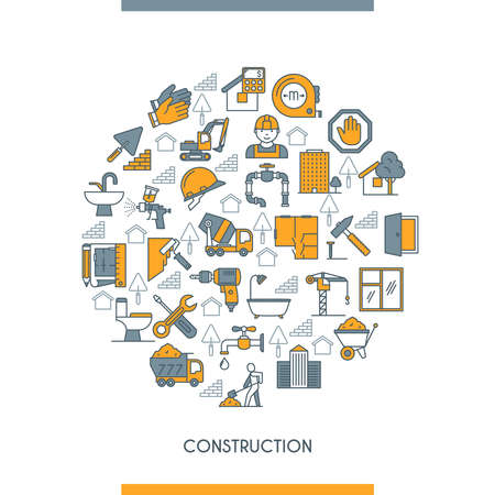 Flat line design construction concept