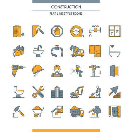 Flat line design construction icons
