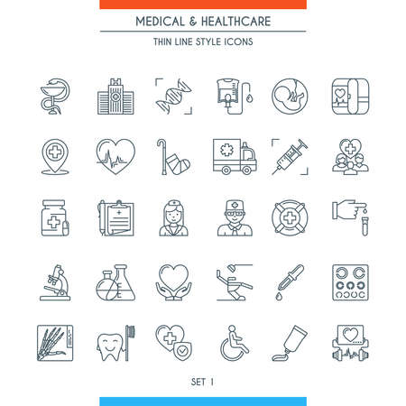 Thin line design medical icons.