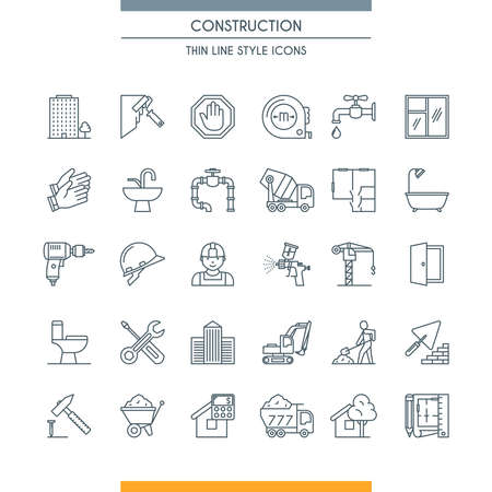 Thin line design icons on construction theme. Building, home repair tools and construction works symbols vector illustration.