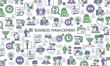 Business management banner in green and purple colors.