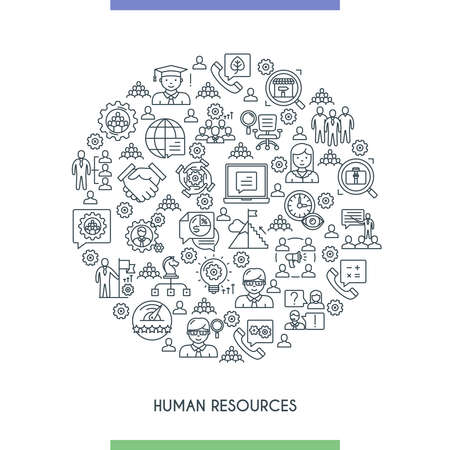 human resources icons line concept