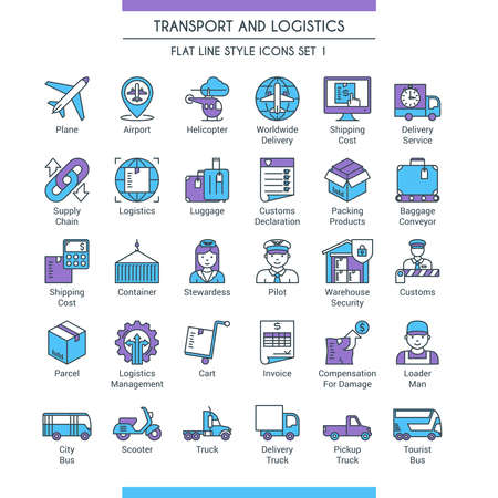 Transport and logistic icons