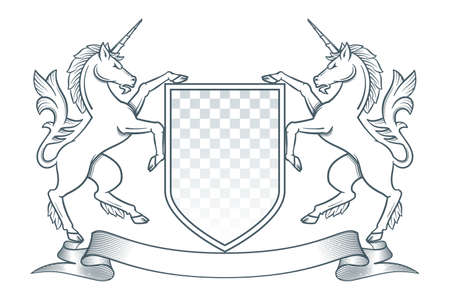 Medieval coat of arms. Two unicorns hold a shield. Vector Illustration