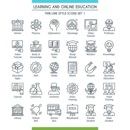 Learning and online education icons set. Modern icons on theme knowledge, scince, teaching, school and university. Thin line design icons collection. Vector illustration