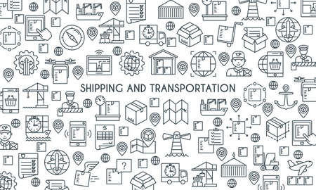 Shipping and transportation line banner Illustration
