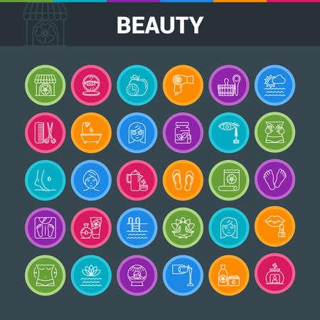 Beaty salon colorful icons