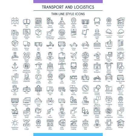 Gran set de línea de transporte y logística Ilustración de vector