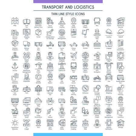 Transport and logistic line big set 矢量图像