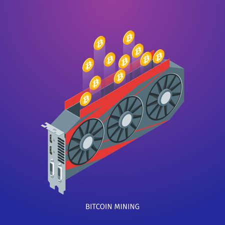 Bitcoin mining concept Иллюстрация
