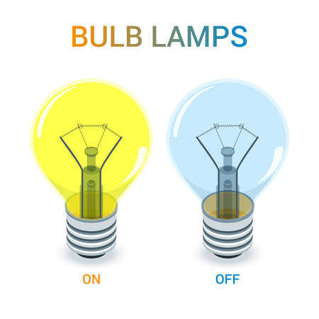 Glowing and turned off light bulb. Isometric composition. Highly detailed vector illustration