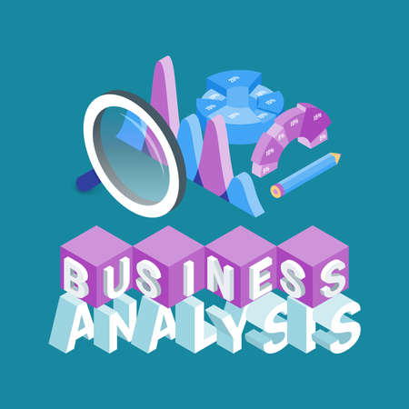 Business analysis concept. Image of a magnifying glass, graphs and diagrams. Highly detailed vector illustration of isometric objects