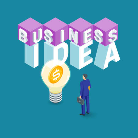 Business idea concept. Image of a light bulb and a businessman. Highly detailed vector illustration of isometric objects