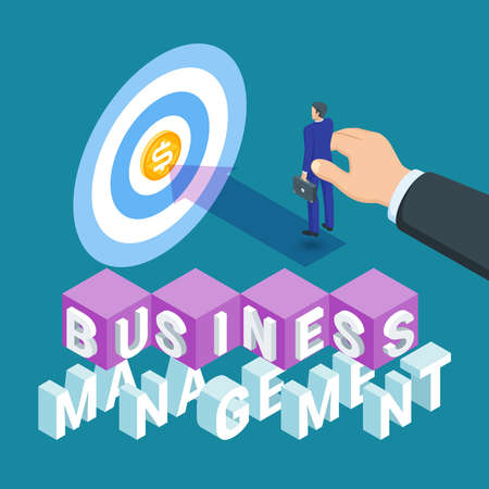 Business management concept. Image of a light bulb and a businessman. Highly detailed vector illustration of isometric objects