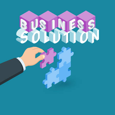 Business solution concept. Image of a hand holding puzzle piece. Highly detailed vector illustration of isometric objects