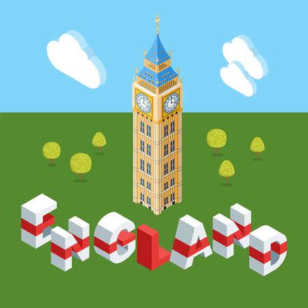 Isometric Big Ben building