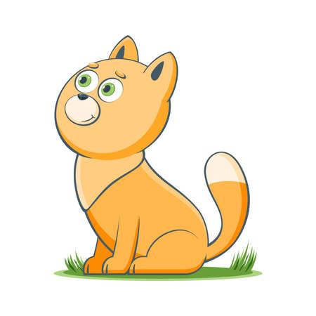 A happy cartoon cat. Comic farm animal character. Vector Illustration