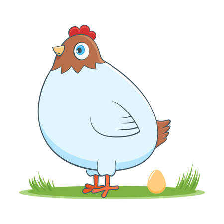 A happy cartoon hen with egg. Comic farm animal character. Vector Illustration Illustration