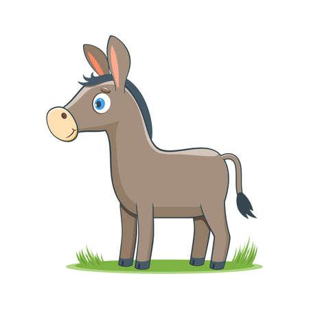 A happy cartoon donkey. Comic farm animal character. Vector Illustration