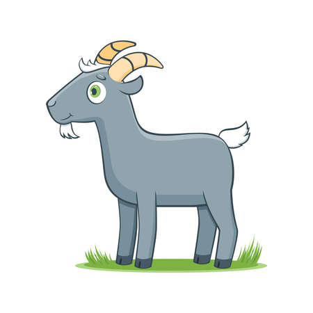 A happy cartoon goat. Comic farm animal character. Vector Illustration