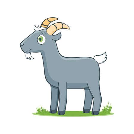 A happy cartoon goat. Comic farm animal character. Vector Illustration