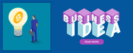 Business idea banner. Image of a light bulb and a businessman. Highly detailed vector illustration of isometric objects