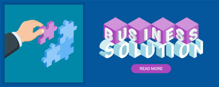 Business solution banner. Image of a hand holding puzzle piece. Highly detailed vector illustration of isometric objects