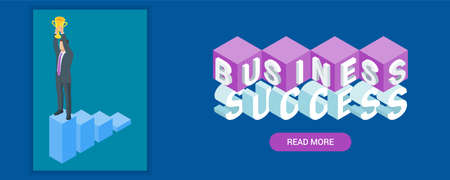 Business success banner. Image of a businessman holding the winning cup above his head. Highly detailed vector illustration of isometric objects
