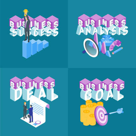 Business concepts set. Isometric banners. Highly detailed vector illustration Standard-Bild - 112157415