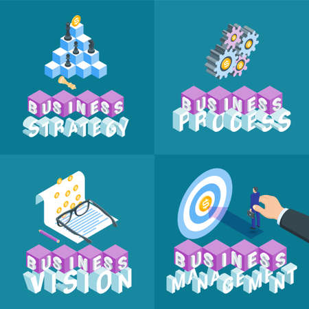 Business concepts set. Isometric banners. Highly detailed vector illustration