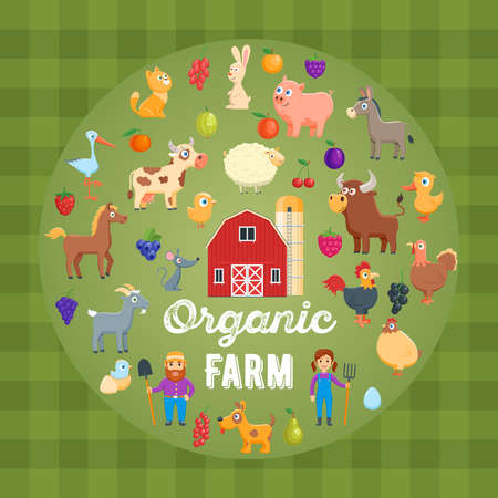 Organic farm concept. Cartoon images of Poultry, farm animals, farmers and barn. Vector illustration Vectores
