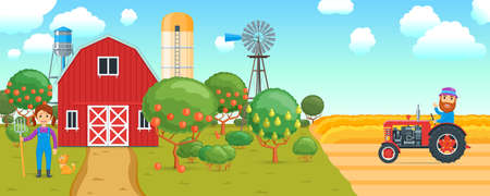 Cartoon banner on agricultural theme
